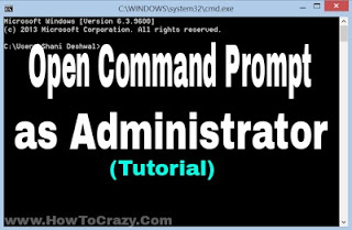 How to Open Command Prompt as Administrator in windows 8, 8.1, 10
